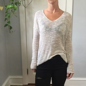 Helmut Lang Ivory Silk Knit Loose Casual Sweater